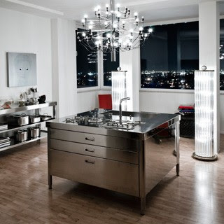 grandiose insel in edelstahl von alpes inox edelstahlm bel edelstahlk chen edelstahlkamine. Black Bedroom Furniture Sets. Home Design Ideas